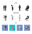 isolated object of character and avatar icon set vector image