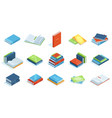 isometric library books school education vector image