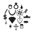 jewelry items icons set simple style vector image vector image