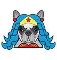 kids style cute superhero bulldog wonder woman vector image