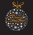 merry christmas handwritten lettering golden text vector image vector image