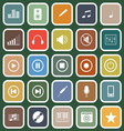 Music flat icons on green background vector image