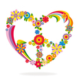 Peace heart sign made of flowers vector image vector image