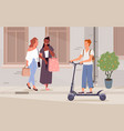 pedestrian people walk on city street sidewalk vector image vector image
