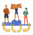 people standing on podium awarded with medals vector image vector image