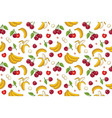 seamless pattern with cherries and bananas vector image