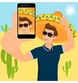 Selfie of funny guy wearing a sombrero vector image