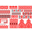 set of 21 seamless ethnic patterns for embroidery vector image