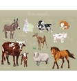 set of different farm animals vector image vector image