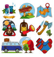 set on the theme of tourism color travel logos vector image vector image