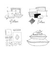 set with pillows bed linen vector image vector image