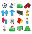Soccer cartoon icons set vector image vector image