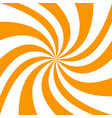 spiral background from orange and white rays vector image vector image