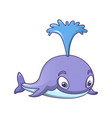 splash water whale icon cartoon style vector image