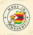 Stamp with map flag of Zimbabwe vector image