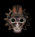 Steampunk skull wearing top hat vector image vector image