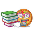 student with book pizza mascot cartoon style vector image vector image