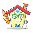 student with pencil house character cartoon style vector image