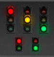 traffic lights realistic transparent icon set vector image