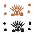 turkey bird and pumpkin black and brown icon vector image vector image