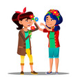 two asian girls decorate themselves with flowers vector image