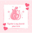 two cats hug kiss valentine card love text icon vector image