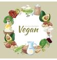Vintage healthy vegan food background vector image vector image