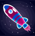 violet with blue stripes a space rocket with a vector image vector image