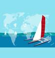 yacht club banner design with sport trimaran vector image
