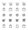 Shopping baskets line icons vector image
