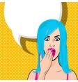 Happy young blue hair girl pop art halftone vector image