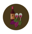 wine bottle with two glasses templates vector image