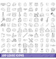 100 lease icons set outline style vector image
