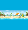 a tropical coastal landscape with deckchair vector image