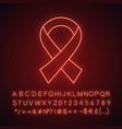 anti hiv ribbon neon light icon vector image