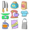art of kitchen equipment doodles vector image vector image