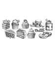 assortment baked sweet dessert set vintage vector image