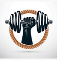 athletic sportsman arm holding dumbbell fitness vector image