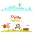 Autumn banners with funny happy smiling kids vector image