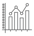 bar graph thin line icon growth and chart vector image vector image