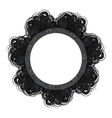 Black lacy round vintage frame with text space vector image vector image