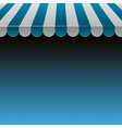Blue and White Strip Shop Awning with Space for vector image