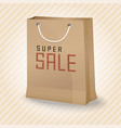 brown shopping paper bag with super sale vector image vector image