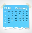Calendar february 2016 colorful torn paper vector image vector image