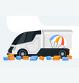 cargo van or truck with parachute parcel box vector image