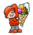 cartoon an happy elf with a ice cream cone vector image