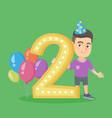 caucasian boy celebrating second birthday vector image vector image