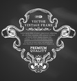 chalk border frame with retro ornament vector image vector image