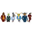 characters various animals in business suits vector image vector image