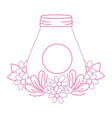 color line mason glass with leaves and flowers vector image vector image